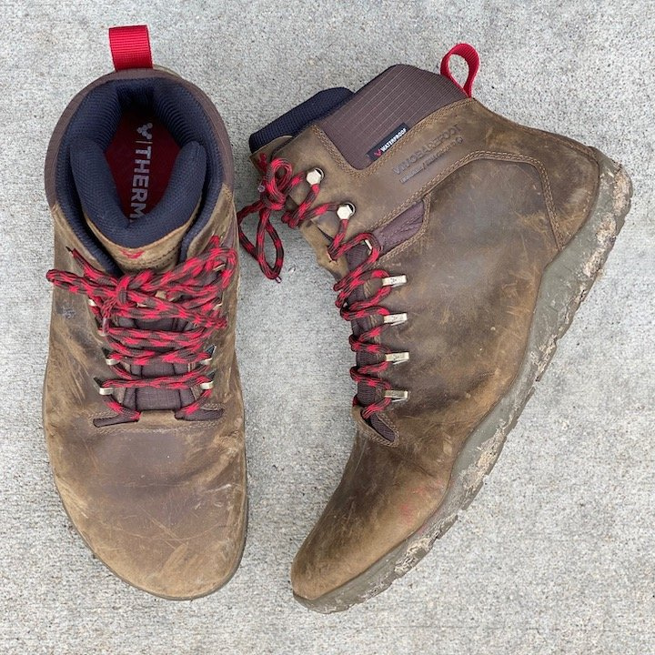 a close up of the vivobarefoot tracker barefoot hiking boot