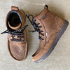 close up of the lems waterproof minimalist boulder boot in brown