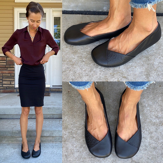 A collage of 3 photos of the Xero shoes Phoenix leather barefoot ballet flat for women. One is a full body shot of a woman in a business outfit wearing the simple flats, the other two are close up images of her feet in the flats from a front and side view.