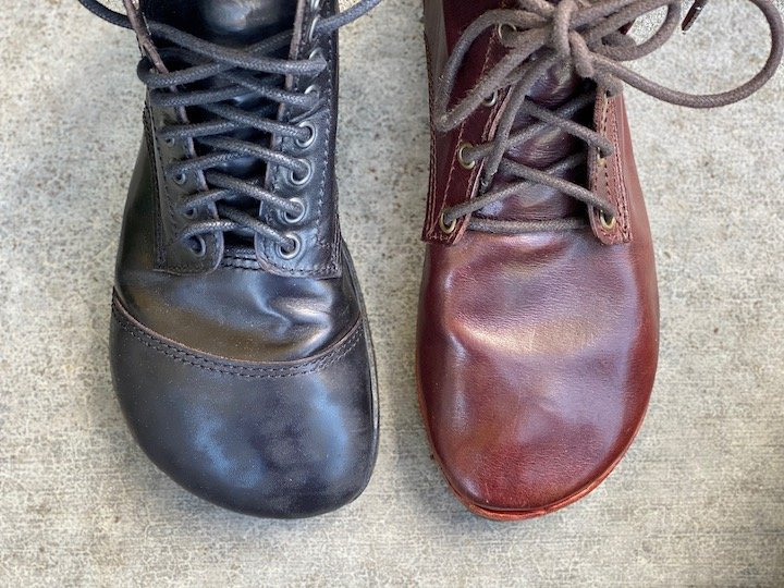 Close up view of two the toe boxes different gaucho ninja barefoot handmade boots to show the difference between the bespoke and standard sizes